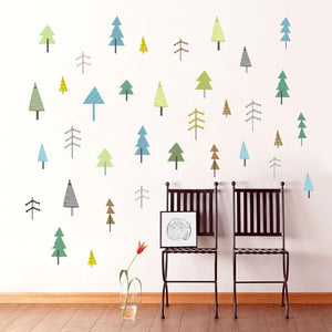 Little Trees Nordic Woodland Nursery Wall Decals DIY Removable Vinyl Wall Stickers Cute Nature Wall Mural For Colorful Kids Room Creative Wall Art Decoration