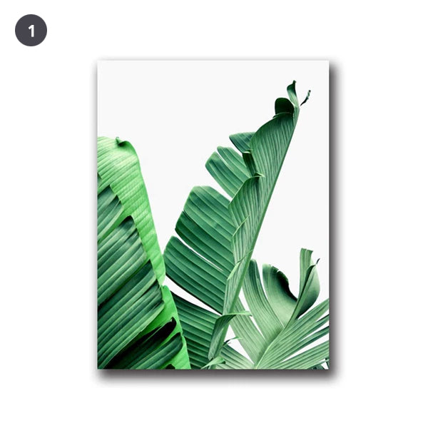 Lush Green Leaves Posters Tropical Plants Flora Fine Art Canvas Prints Nordic Wall Art For Living Room Dining Room Modern Home Decoration