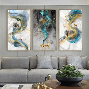 Abstract Golden Stags Luxurious Nordic Wall Art Fine Art Canvas Prints Fashionable Pictures For Living Room Bedroom Modern Home Decor