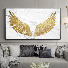 Load image into Gallery viewer, Luxurious Golden Wings On Marble Background Wall Art Fine Art Canvas Prints Glamorous Pictures For Living Room Bedroom Home Decor