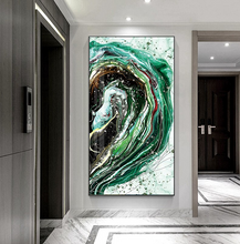 Load image into Gallery viewer, Luxury Abstract Nordic Wall Art Lucky Golden Fish Green Blue Contemporary Fine Art Canvas Prints Luxury Home Office Wall Art Decor