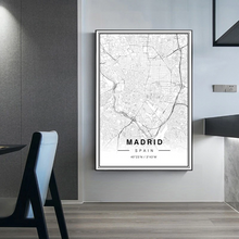 Load image into Gallery viewer, Madrid City Map Wall Art Black And White Fine Art Canvas Prints Spain Travel Business Office Longitude Latitude City Location Posters For Modern Home Decor