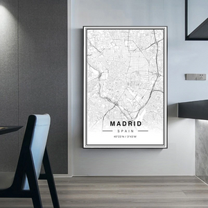 Madrid City Map Wall Art Black And White Fine Art Canvas Prints Spain Travel Business Office Longitude Latitude City Location Posters For Modern Home Decor