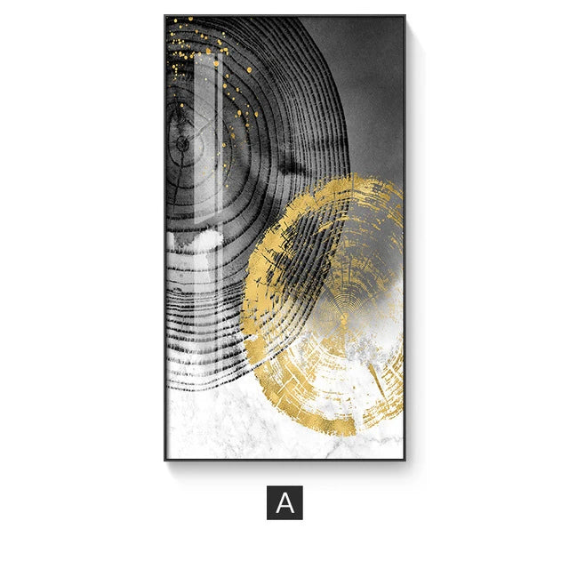 Marble Slice Golden Woodcut Abstract Nordic Wall Art Black Gray Golden Fine Art Canvas Prints Pictures For Contemporary Living Luxury Office Interior Decor