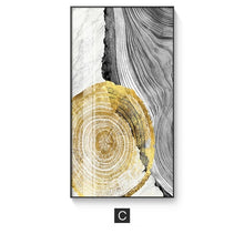Load image into Gallery viewer, Marble Slice Golden Woodcut Abstract Nordic Wall Art Black Gray Golden Fine Art Canvas Prints Pictures For Contemporary Living Luxury Office Interior Decor