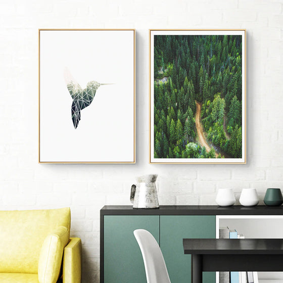 Minimalist Nature Green Forest Wilderness Wall Art Geometric Humming Bird Fine Art Canvas Prints Nordic Style Pictures For Modern Home Decor