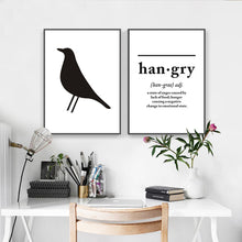 Load image into Gallery viewer, Minimalist Nordic Black and White Wall Art Posters Blackbird Hangry and Perfection is Boring Quotations of Enlightenment Modern Home Decor Art