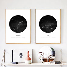 Load image into Gallery viewer, Minimalist Abstract Constellations Wall Art Black And White Star Signs Astrology Fine Art Canvas Prints For Living Room Bedroom Home Decor