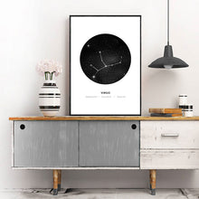Load image into Gallery viewer, Minimalist Abstract Constellations Wall Art Black & White Astronomy Star Signs Traits Zodiac Astrology Prints For Bedroom Home Decor