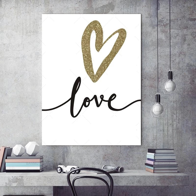 Minimalist Gold Heart Love Quotation Nordic Style Letter Art Love Motif Fine Art Canvas Prints For Bedroom Living Room Glam Home Decor