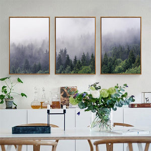 Misty Forest Landscape Wall Art Tranquil Nature Green Wilderness Fine Art Canvas Prints Pictures For Living Room Modern Home Interior Decor