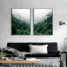 Load image into Gallery viewer, Misty Valley Green Forest Wall Art Mountain Wilderness Landscape Pictures Of Calm Fine Art Canvas Prints For Living Room Nordic Home Office Interior Decor