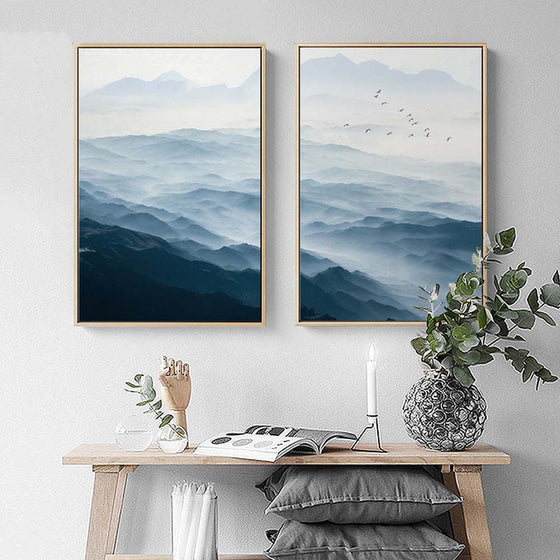 Misty Blue Morning Mountain Landscape Wall Tranquil Scenery Pictures Nordic Style Fine Art Canvas Prints For Office Living Rome Home Decor