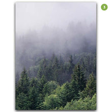 Load image into Gallery viewer, Misty Forest Landscape Wall Art Tranquil Nature Green Wilderness Fine Art Canvas Prints Pictures For Living Room Modern Home Interior Decor