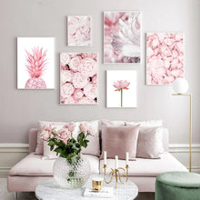 Load image into Gallery viewer, Modern Minimalist Floral Pink Wall Art Fine Art Canvas Prints Nordic Style Botanical Pictures For Scandinavian Design Bedroom Living Room Girls Room Wall Decor