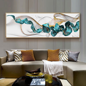 Modern Scenic Abstract Wall Art Wide Format Golden Jade Splash Fine Art Canvas Print Fashionable Pictures For Living Room Bedroom Wall Art Decor
