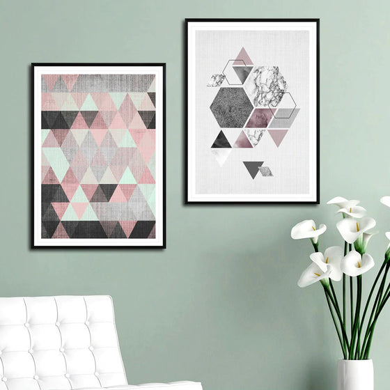 Modern Abstract Geometric Nordic Wall Art Fine Art Canvas Prints Pink Subtle Hues Contemporary Bedroom Decor Pictures For Office Living Room Home Decor