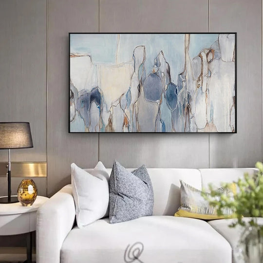 Modern Abstract Living Room Wall Art Vintage Subdued Palette Nordic Contemporary Blue Black Grey Fine Art Canvas Prints Living Room Wall Decor