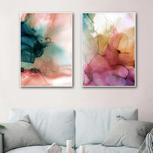 Modern Abstract Watercolor Wall Art Organic Botanic Subdued Colors Fine Art Canvas Prints Contemporary Scandinavian Interior Design Wall Decor
