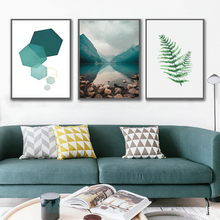 Load image into Gallery viewer, Modern Abstract Wilderness Minimalist Wall Art Nordic Nature Geometric Elements Green Fern Leaf Fine Art Canvas Prints Modern Home Decor