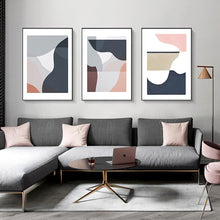 Load image into Gallery viewer, Modern Contemporary Abstract Nordic Wall Art Curved Elements Subdued Colors Warm Hues Fine Art Canvas Prints For Modern Home Office Decor