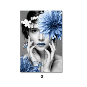 Modern Fine Art Fashion Poster Canvas Wall Art Floral Painting POP Art Fashion Model Poster Home Decor Painting