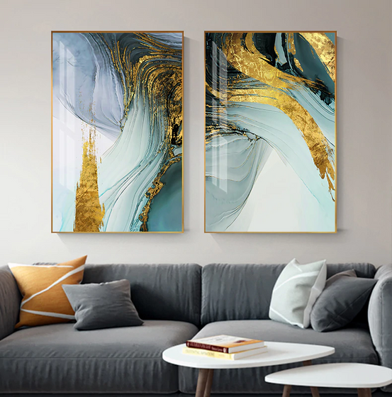 Modern Luxury Abstract Wall Art Golden Blue Jade Fine Art Canvas Prints Fashionable Pictures For Office Living Room or Bedroom Decor
