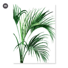 Load image into Gallery viewer, Modern Scandinavian Green Leaves Wall Art Tropical Botany Watercolor Fine Art Canvas Prints Minimalist Abstract Floral Nordic Pictures For Modern Home Decor