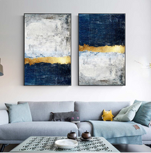 Load image into Gallery viewer, Modern Vintage Abstract Wall Art Golden Blue Gray Block Contemporary Fine Art Canvas Prints Luxury Home Office Wall Art Decor