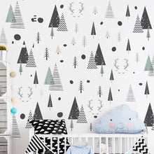Load image into Gallery viewer, Nordic Forest Deer Wall Decals For Kids Room Modern Creative DIY Nursery Decor Woodland Trees Wall Art PVC Stickers For Kindergarten Classroom