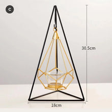 Load image into Gallery viewer, Nordic Gold Geometric Candle Lanterns Hanging Candle Holder Brass And Wrought Iron Table Decoration Coffee Table Props Garden Chic Home Decor