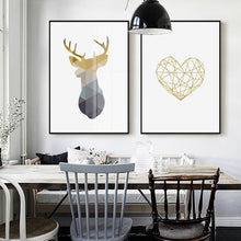 Load image into Gallery viewer, Nordic Minimalist Geometric Wall Art Deer Motif And Heart Icon Fine Art Canvas Prints Pictures For Modern Office Home Living Room Interior Decor
