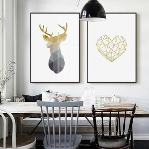Nordic Minimalist Geometric Wall Art Deer Motif And Heart Icon Fine Art Canvas Prints Pictures For Modern Office Home Living Room Interior Decor