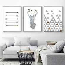 Load image into Gallery viewer, Nordic Minimalist Style Geometric Arrows Triangle Deer Wall Art Fine Art Canvas Prints Scandinavian Abstract Posters For Living Room