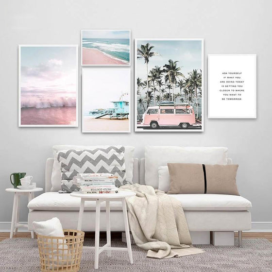 Ocean Landscape Pink Campervan Travel Getaway Beach Life Dreams Fine Art Nordic Prints Canvas Pictures For Modern Living Room Bedroom Decor