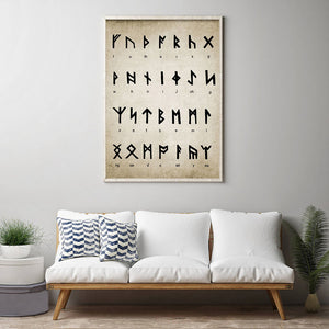 Old Norse Runic Alphabet Viking Culture Poster Nordic Wall Art Fine Art Canvas Print Scandinavian Pictures For Living Room Home Office Wall Art Decoration
