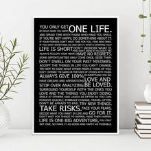 Load image into Gallery viewer, One Life Motivational Quote Poster Black and White Wall Art Fine Art Canvas Prints Inspirational Wall Decor For Office Living Room Bedroom Posters