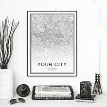Load image into Gallery viewer, Personalized City Map For Your Wall - High Resolution Highly Detailed Minimalist Nordic Style Wall Map Customized For Any City Or Town