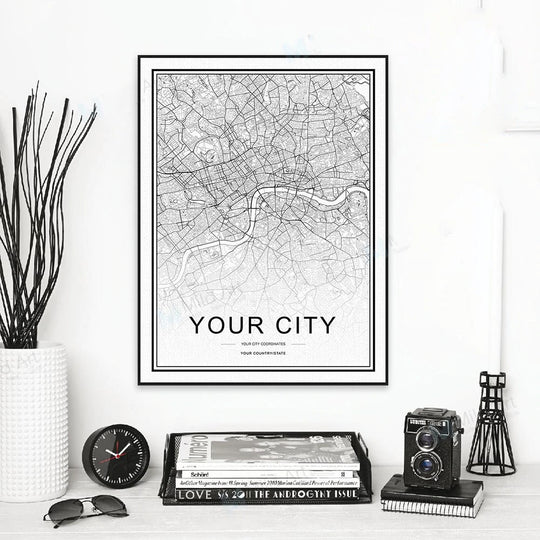 Personalized City Map For Your Wall - High Resolution Highly Detailed Minimalist Nordic Style Wall Map Customized For Any City Or Town