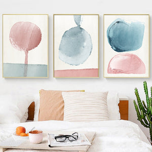 Pink And Blue Abstract Nursery Wall Art Pastel Color Fine Art Canvas Prints Modern Nordic Pictures For Baby Room Kids Room Wall Decor