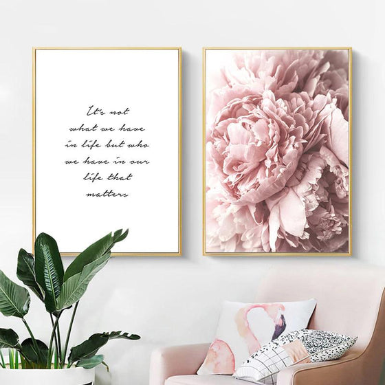 Pink Peonies Simple Quotation Wall Art Minimalist Fine Art Canvas Prints Modern Posters For Living Room Bedroom Home Interior Decor