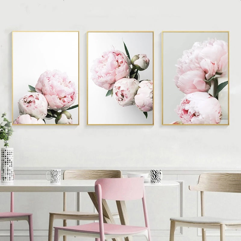 Pretty Pink Peonies Wall Art Fine Art Canvas Prints Modern Floral Pictures  For Bedroom Living Room Minimalist Styling Glam Home Decor