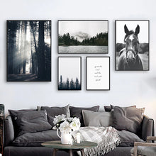 Load image into Gallery viewer, Quiet The Mind And The Soul Will Speak Inspirational Misty Mountain Wilderness Nordic Gallery Wall Art Black & White Fine Art Canvas Prints