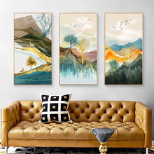 Load image into Gallery viewer, Realm Of The Golden Stag Abstract Nordic Landscape Wall Art Fine Art Canvas Prints Luxury Pictures For Loft Apartment Living Room Stylish Modern Home Decor