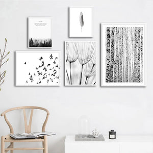 Scandinavian Forest Scenes Minimalist Black & White Gallery Wall Art Nordic Style Fine Art Canvas Prints For Living Room Modern Home Decor