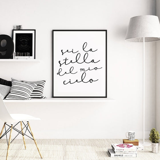 Sei La Stella Del Mio Cielo Italian Love Quote Wall Art Fine Art Canvas Print Black And White Minimalist Poster Gift For Fiance Bedroom Wall Art Decor
