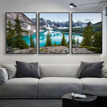 Load image into Gallery viewer, Serene Mountain Lake Forest Wilderness Wall Art Fine Art Canvas Prints Modern Landscape Pictures Of Calm For Home Office Living Room Home Decor