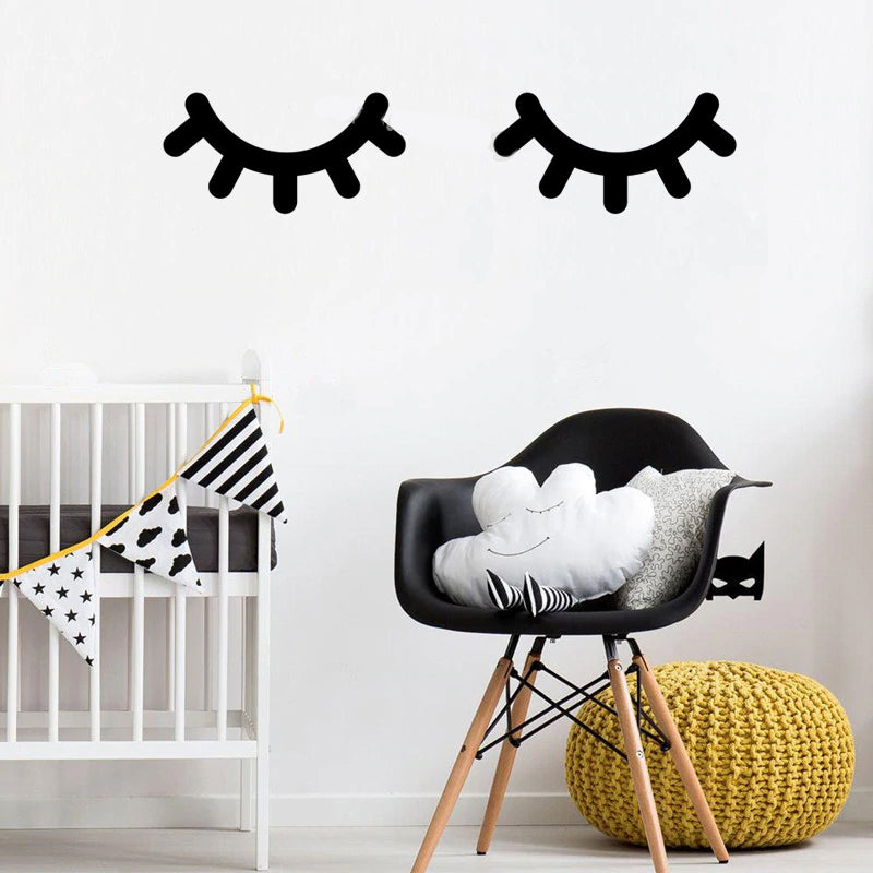 Sleepy Eyes Lashes Wall Murals For Bedroom Removable Creative Nordic Style DIY Decor PVC Wall Decals For Kids Room Beauty Salon Wall Decor