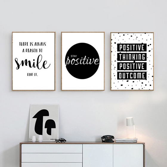 Positive Thinking Inspirational Wall Art Black & White Fine Art Canvas Prints Motivational Quotations Posters For Offices Or Home Living Room Bedroom Art Decor