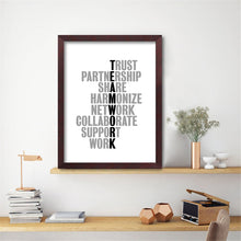 Load image into Gallery viewer, Teamwork Quotes Posters Motivational Wall Art Black And White Fine Art Canvas Prints Inspirational Business Quotations For Modern Office Wall Art Decor